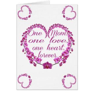 1人のお母さん、1愛、1のハートは、永久に梳きます カード