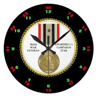 1人のキャンペーン星のイラク戦争の退役軍人 ラージ壁時計
