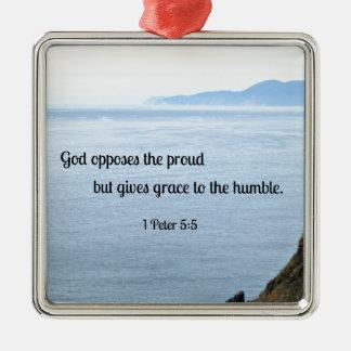 1人のピーターの5:5の神は誇りを持ったのに反対しますが、優美を与えます メタルオーナメント