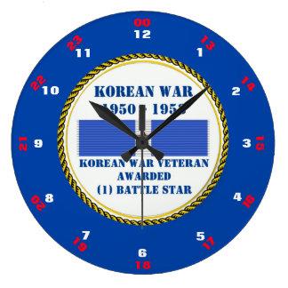 1人の戦いの星の朝鮮戦争の退役軍人 ラージ壁時計