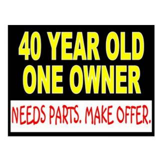 1人の所有者が部品を必要とする40歳は提供をします ポストカード