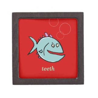 1匹のカスタマイズ可能な歯付き魚の歯- ギフトボックス