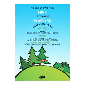 1匹のゴルフ誕生日のパーティの招待状の穴 カード