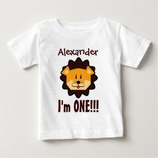 1年の第1誕生日の男の子か女の子LionV022 ベビーTシャツ