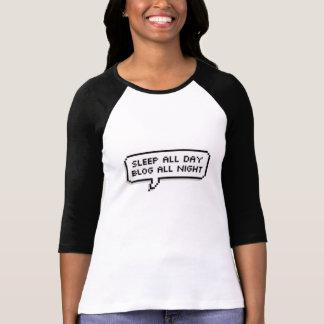 1日中睡眠、一晩中ブログ Tシャツ