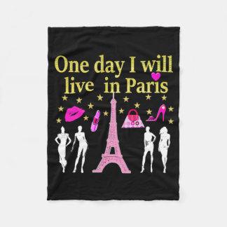 1日私はパリに住んでいます フリースブランケット