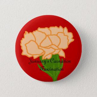 1月のカーネーションの魅了ボタン 5.7CM 丸型バッジ