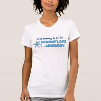 1月の母性の小さい雪片の期待 Tシャツ