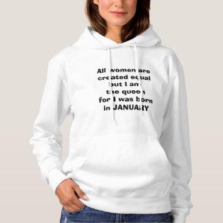 """1月私はのための""""女王""""に""""生まれます""""のフード付きスウェットシャツでした パーカ"""