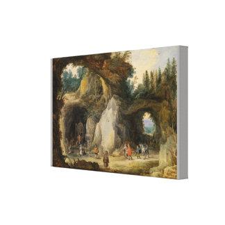 1月Brueghel著小洞窟の前の隠者Elde キャンバスプリント