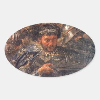 1月Matejko著Grunwald (詳細)の戦い 楕円形シール