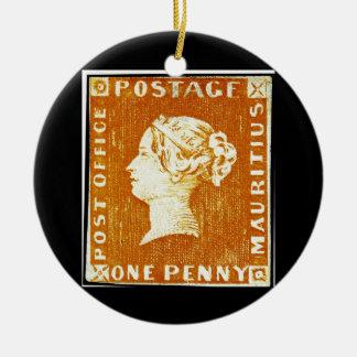 1枚のペニーの大英帝国のマリシャスの切手 セラミックオーナメント