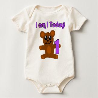 1歳のテディベアのTシャツ ベビーボディスーツ