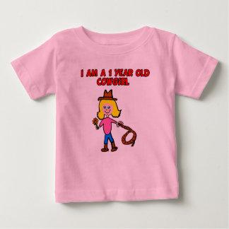 1歳の女性のカーボーイのTシャツ ベビーTシャツ