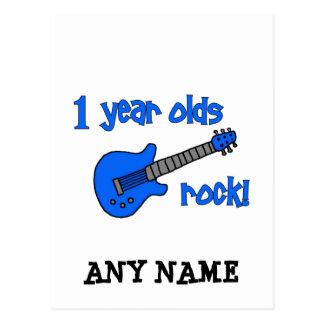 1歳の石! 名前入りなベビーの第1誕生日 ポストカード