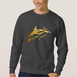 1頭の金ゴールドのイルカのワイシャツ スウェットシャツ
