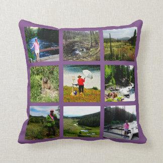 10の写真のInstagramのコラージュの紫色の背景の白 クッション