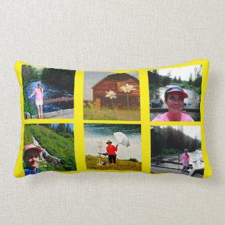 10の写真のInstagramのコラージュの黄色の背景 ランバークッション