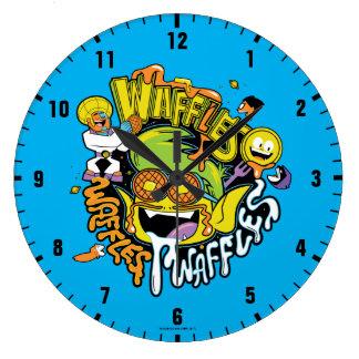 10代のなタイタンは行きます!  の獣の男の子のワッフル ラージ壁時計