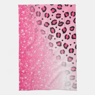 10代のな女の子のためのきらめくピンクのヒョウのプリントの装飾 キッチンタオル