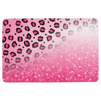 10代のな女の子のためのきらめくピンクのヒョウのプリントの装飾 フロアマット