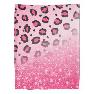 10代のな女の子のためのきらめくピンクのヒョウのプリントの装飾 掛け布団カバー