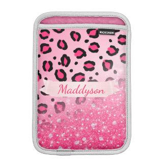 10代のな女の子のためのきらめく模造のなグリッターのヒョウのプリント iPad MINIスリーブ