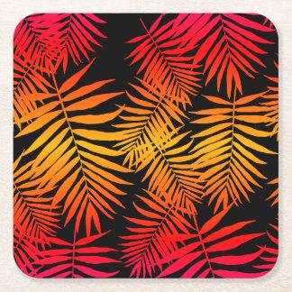 10代のな女の子のヤシの木の葉のオレンジピンクの日没 スクエアペーパーコースター