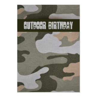 10代のな男の子の屋外の迷彩柄の誕生会 カード