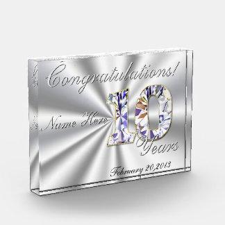 10年のお祝い 表彰盾