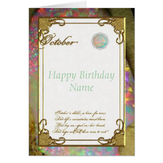 10月のオパールのBirthstoneのバースデー・カード カード