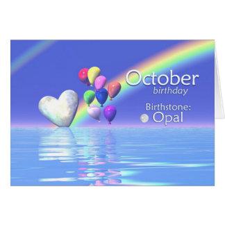 10月の誕生日のオパールのハート カード