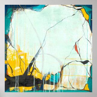 10月-正方形の青及び黄色の抽象美術 ポスター