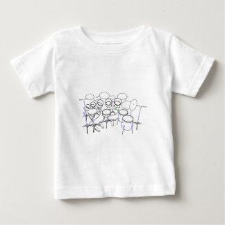 10部分のドラムキット: マーカーのスケッチ: ベビーTシャツ