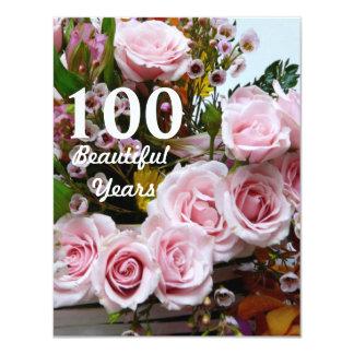 100つの美しい年! -誕生会かピンクのバラ カード