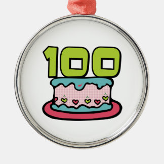 100歳のお誕生日ケーキ メタルオーナメント