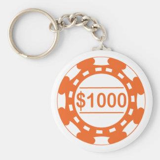 $1000のカジノの破片のオレンジKeychain キーホルダー