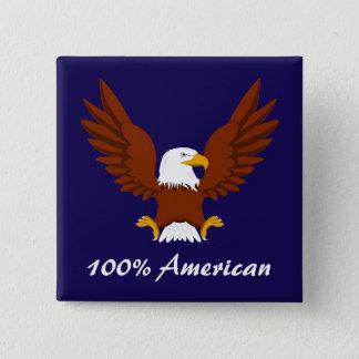100%のアメリカの白頭鷲ボタン 5.1CM 正方形バッジ