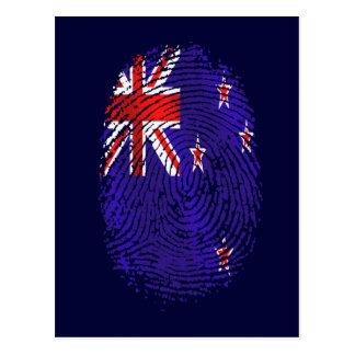 100%キーウィDNAニュージーランドの旗の指紋 ポストカード