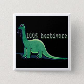 100%年の草食動物の恐竜 5.1CM 正方形バッジ