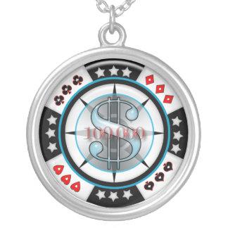 $100,000.00賭博のポーカー用のチップ シルバープレートネックレス