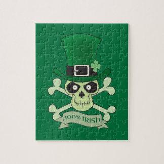 100% Irish.Greenの幸運なアイルランドのスカル ジグソーパズル