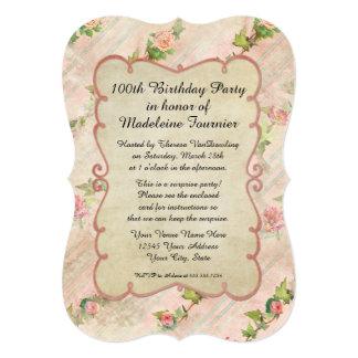 100th誕生会スクロールフレームwのヴィンテージのバラ カード