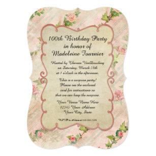 100th誕生会スクロールフレームwのヴィンテージのバラ 招待状