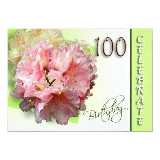 100th誕生日のパーティの招待状-シャクナゲ カード