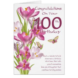 100th誕生日のピンクのクロッカスおよび蝶 カード