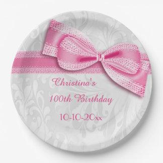 100th誕生日のピンクのダマスク織および模造のな弓 ペーパープレート