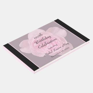 100th誕生日のピンクのバラの来客名簿 ゲストブック