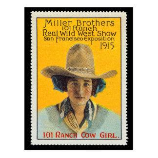 101の牧場女性のカーボーイポスタースタンプ、パナマ太平洋#1 ポストカード