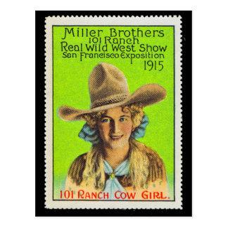 101の牧場女性のカーボーイポスタースタンプ#2、パナマ太平洋 ポストカード
